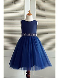 A-line Knee-length Flower Girl Dress - Taffeta / Tulle Sleeveless Scoop with