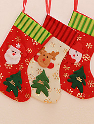 "3PCS/SET 30CM/2"" Merry Christmas Stockings Xmas Tree Decoration Snowman Santa Claus Reindeer"