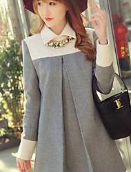 Dominic Women's Color Block Gray Dresses , Casual Shirt Collar Long Sleeve