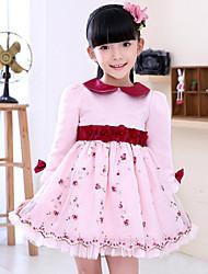 Girl's Vogue  Cotton Blend Winter / Fall Floral  Lapel High Waist Flower Girl Dress Dress