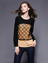 Women's Geometric / Patchwork Black T-shirt , Round Neck Long Sleeve / Plus Sizes Shirt Collar Long Sleeve