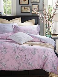 Gray Flower Pattern Light Pink Cotton Bedding Set 4-Piece