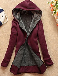 DST  Women's Solid Color Black Coats & Jackets , Casual / Work Hoodie Long Sleeve