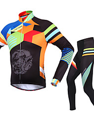 BATFOX® Cycling Jersey with Tights Men's Long Sleeve BikeBreathable / Thermal / Warm / Windproof / Ultraviolet Resistant / YKK Zipper /