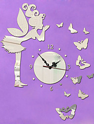 Acrylic 3D Mirror Home Decor Angel Butterfly Wall Clock Mirror Surface Sticker