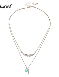 D exceed Boho Fashion Silver Plated Double Layered Turquoise Pendant Necklace Angel Wing Spike Clavicle Chain for Women