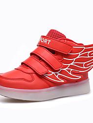 Damen Herren Jungen-Sneaker-Outddor Lässig Sportlich-Kunstleder-Flacher Absatz-Komfort-Blau Rot Weiß