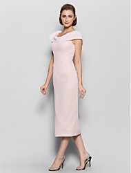 Lanting Bride® Sheath / Column Mother of the Bride Dress Tea-length Short Sleeve Chiffon with