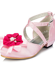 Girls' Shoes Outdoor / Casual Silk Flats Spring / Summer / Fall / Winter Round Toe Satin Flower / Flower Pink