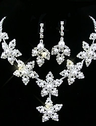 Lucky Doll Women's All Matching 925 Silver Plated Man Made Pearl Zirconia Flower Long Necklace & Earrings Jewelry Sets