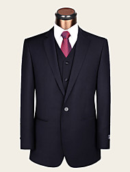 Suits Standard Fit Notch Single Breasted One-button Wool / Viscose Solid 2 Pieces Dark Blue