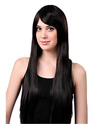 peruca sem tampa preta extra longo de alta qualidade natural em linha reta sintética