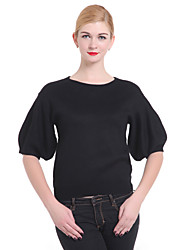 Women's Solid Black Pullover , Casual / Cute ¾ Sleeve