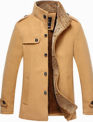 Men's Long Sleeve Long Coat , Polyester Pure,Men's woolen coat and long sections plus thick velvet jacket