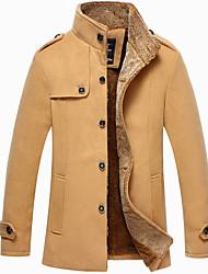 Men's Long Sleeve Long Coat , Polyester Pure,Men's woolen coat and long sections plus thick velvet jacket