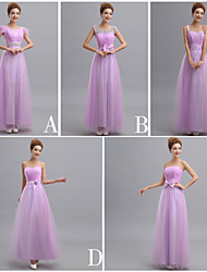 Floor-length Tulle Bridesmaid Dress Sheath / Column One Shoulder with Appliques / Beading / Bow(s) / Sash / Ribbon / Bandage