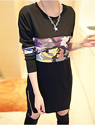 Women's Patchwork Black Dress , Sexy / Plus Sizes Round Neck Long Sleeve