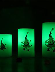 velas dotty ™ palhaço natal velas de impressão flamless, 18 teclas de controle remoto, 12 cores opção de mudança, bloco de 3