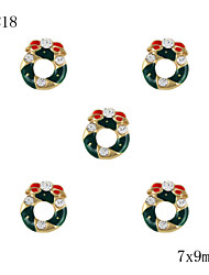 10pcs Gold Christmas Wreath with Rhinestone 3D Alloy Nail Art Decoration