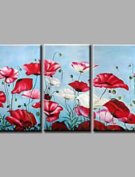 готовы повесить протянутой рукой роспись маслом холст стены искусства абстрактные цветы красные маки три панели