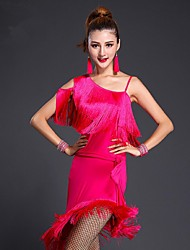Latin Dance Dresses Women's Performance / Training Milk Fiber Tassel(s) 1 Piece Black / Blue / Fuchsia