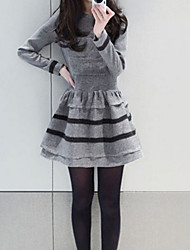 Women's Patchwork Black / Gray Dress , Sexy / Plus Sizes Round Neck Long Sleeve
