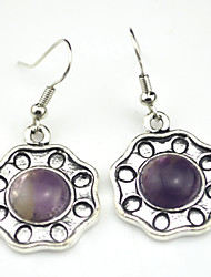 Vintage Look Antique Silver Round Turquoise Amethyst Tiger Stone Drop Dangle Earring(1Pair)
