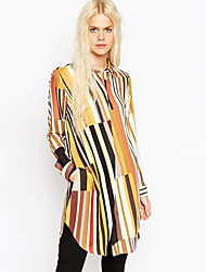 Women's Striped Yellow Shirt  Square Neck Long Sleeve
