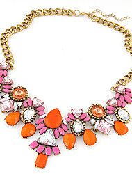 European Style Fashion Trend Shiny Metal Imitation Gemstone Necklace