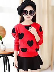Vestido Chica de - Invierno / Otoño - Algodón / Mezcla de Algodón - Negro / Rojo
