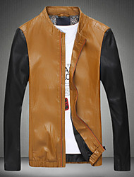 Men's Korean Casual Stand Collar Slim Fit Leather Jacket