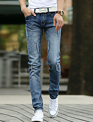Men jeans men's cultivate one's morality stretch feet pants youth men's pencil pants men