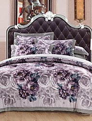 Floral Duvet Cover Sets 4 Piece Cotton Luxury Reactive Print Cotton Queen King 1pc Duvet Cover 2pcs Shams 1pc Flat Sheet