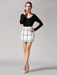 Damen Röcke - Leger Übers Knie Leinen Mikro-elastisch