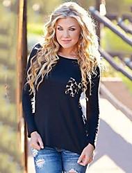 Damen Leopard Einfach / Street Schick Lässig/Alltäglich / Übergröße T-shirt,Rundhalsausschnitt Herbst Langarm Schwarz Baumwolle