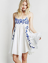 Women's Print Blue / White Dress , Sexy Strap Sleeveless