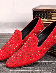 Sapatos Masculinos Mocassins Preto / Vermelho Couro Casamento / Festas & Noite