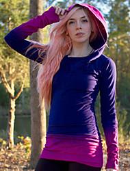 Women's Color Block Blue / Purple / Gray T-shirt , Hooded Long Sleeve