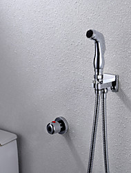 Bathroom/Toilet Chrome Shattaf Bidet Sprayer Gun, With Wall Mounted Thermostatic  Faucet Valve And 150 cm Hose