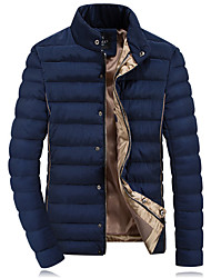 Men's Stand Coats & Jackets , Polyester Long Sleeve Casual Zipper Winter YYS