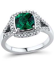 Women's Classic Sterling Silver set with Created Emerald and Natural Diamond Ring