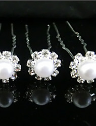 Rich Long Diamond Silver Plated Flower Hair Clip Single