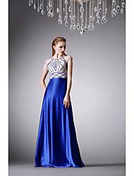 Fiesta formal Vestido - Azul Real Corte A Hasta el Suelo - Escote Joya Satén