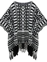 Women's Geometric Black Pullover , Casual ½ Length Sleeve