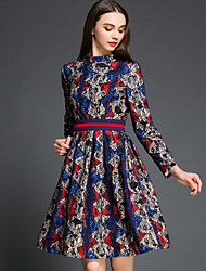 Women's Casual/Daily Shift Dress,Print Stand Knee-length Long Sleeve Multi-color Cotton / Polyester Fall