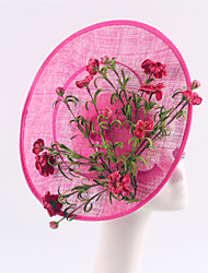 Women Fuchsia Sinamay Flowers Headbands Fascinators Feather Wedding Derby Hats