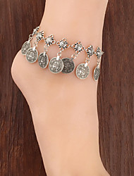 Fashionable Vintage Metal Coin Tassel Anklets
