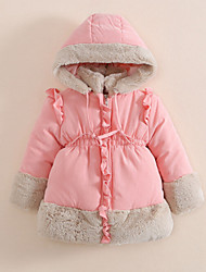 Girl's Pink / Red Down & Cotton Padded / Jacket & Coat , Ruffle Cotton Winter