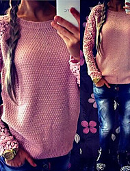 Angel Women's Patchwork / Lace Blue / Pink / Black Sweaters , Casual / Work Round Long Sleeve plus size