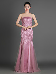 Trumpet / Mermaid Mother of the Bride Dress Floor-length Satin / Tulle with Appliques